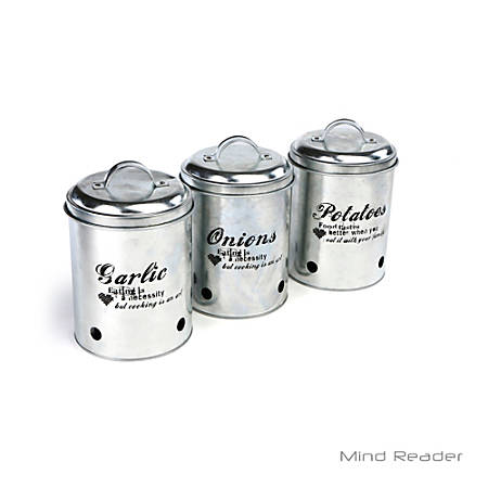 "Mind Reader 3-Piece Garlic, Onion And Potatoes Canister Set, 7 1/4""H x 5 1/2""W x 5 1/2""D, Silver"