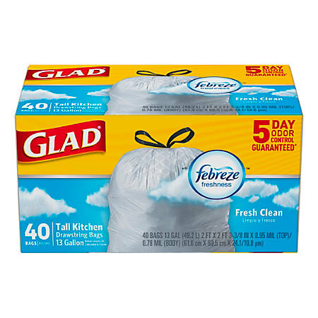 "Glad OdorShield Tall Kitchen Drawstring Trash Bags - 13gal - 24"" Width x 27.38"" Length - White - 6 / Carton - 40 Per Box - Kitchen, Home, Office, Garbage - Fresh Clean"