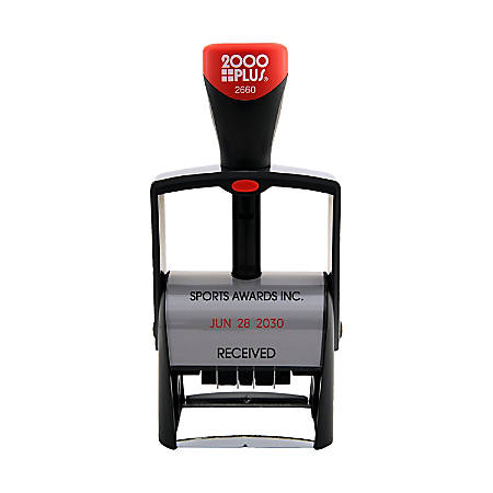 """Custom 2000 PLUS® 2-Color, Heavy Duty Self-Inking Date Stamp, 2660, 1-3/8"""" x 2-3/16"""" Impression"""
