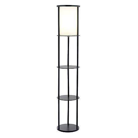 """Adesso® Stewart Shelf Floor Lamp, 62 1/2""""H, Black/White"""