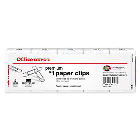 Office Depot® Brand Paper Clips, No. 1, Silver, 100 Clips Per Box, Pack Of 5 Boxes