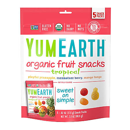 Yummy Earth Organic Tropical Fruit Snacks, 3.1 Oz, Pack Of 4 Bags