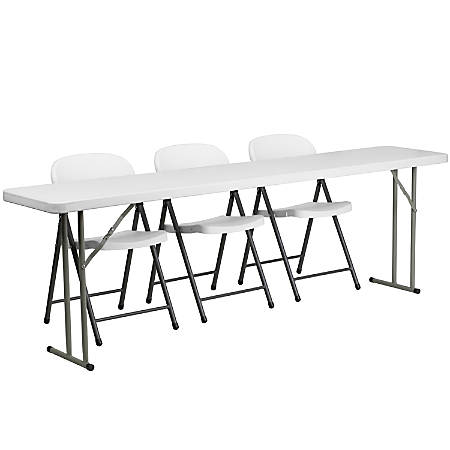 "Flash Furniture Plastic Folding Training Table with 3 Plastic Folding Chairs, 29""H x 96""W x 18""D White"