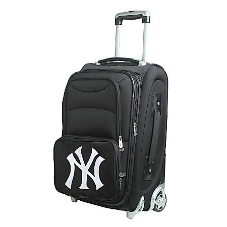 """Denco Nylon Expandable Upright Rolling Carry-On Luggage, 21""""H x 13""""W x 9""""D, New York Yankees, Black"""