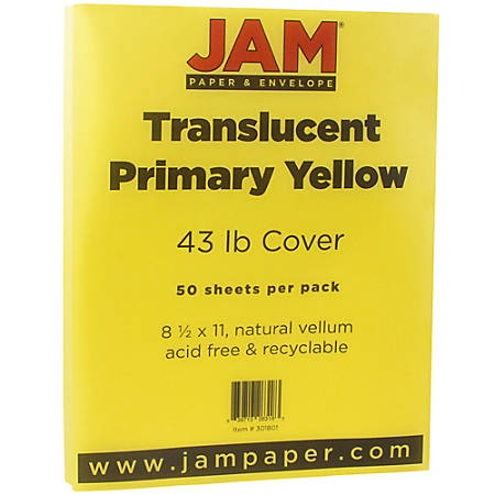 "JAM Paper® Cover Card Stock, 8 1/2"" x 11"", 43 Lb, Translucent Primary Yellow, Pack Of 50 Sheets"