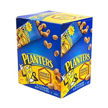 Planters Nut Pouches, Honey Roasted Peanuts, 1.75 Oz, Box Of 18