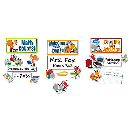 Carson-Dellosa Playful Foxes Curriculum Signs Bulletin Board Set, Multicolor, Grades K-5