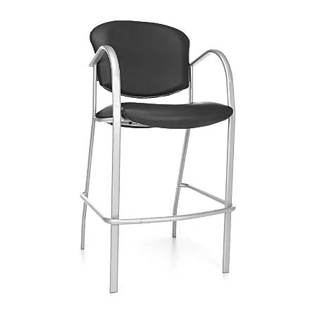 OFM Danbelle Series Anti-Bacterial Café-Height Chair, Black/Silver, Set Of 2