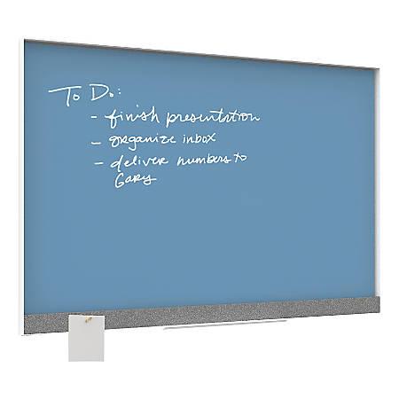 "U Brands Magnetic Dry-Erase Board, Glass, 36"" x 24"", Blue, White Aluminum Frame"