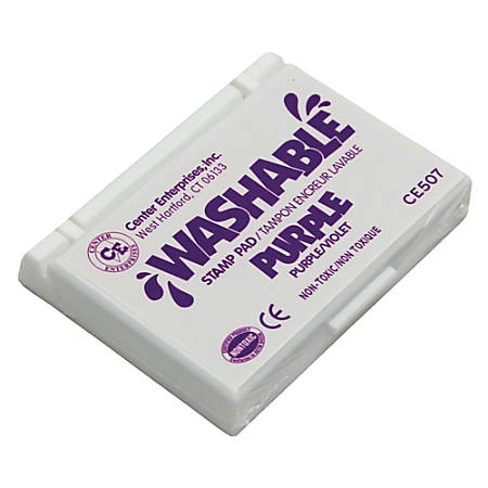 """Center Enterprise Washable Stamp Pads, 2 1/4"""" x 3 3/4"""", Purple, Pack Of 6"""