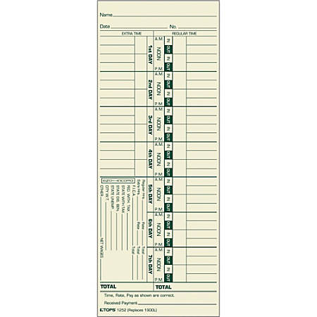 """TOPS® Time Cards (Replaces Original Card 1900L), Numbered Days, 1-Sided, 9"""" x 3 1/2"""", Box Of 500"""