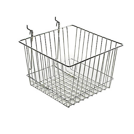"Azar Displays Chrome Wire Baskets, 8""H x 12""W x 12""D, Silver, Pack Of 2"