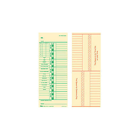 "TOPS® Time Cards (Replaces Original Card 10-800762), Numbered Days, 2-Sided, 9"" x 3 1/2"", Box Of 500"