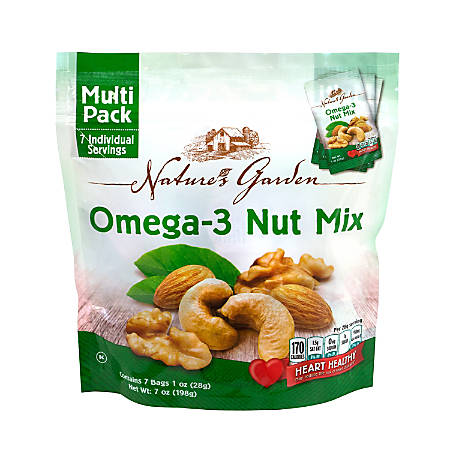 Nature's Garden Omega-3 Nut Mix, 1.2 Oz, 7 Pouches Per Bag, Pack Of 6 Bags