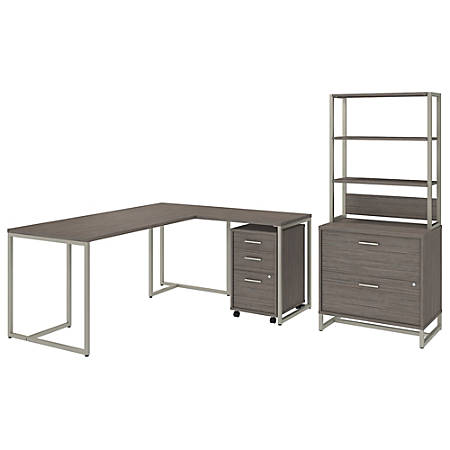 "kathy ireland® Office by Bush Business Furniture Method 72""W L Shaped Desk with 30""W Return, File Cabinets and Hutch, Cocoa, Premium Installation"