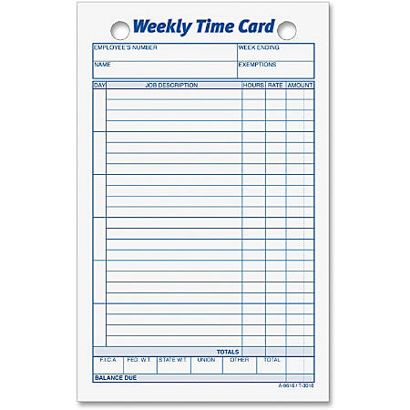 TOPS® Weekly Time Cards, Pack Of 100