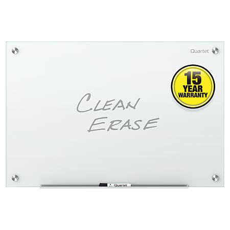 """Quartet Infinity™ Frameless Glass Dry-Erase Board, Non-Magnetic, 24"""" x 18"""", White"""