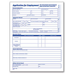 Adams Application For Employment   X  Pack Of  By Office
