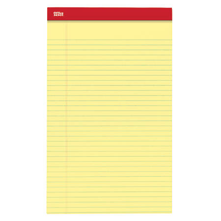 "Office Depot® Brand Perforated Legal Pads, 8 1/2"" x 14"", Legal Ruled, 50 Sheets, Canary, Pack Of 12 Pads"