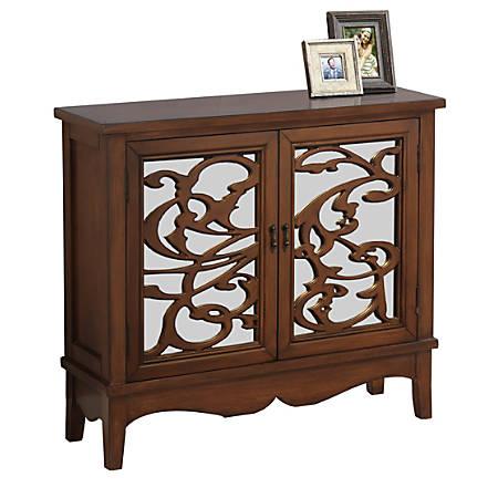 Monarch Specialties Wood Accent Chest With Mirror-Backed Vine Doors, 1 Shelf, Dark Walnut