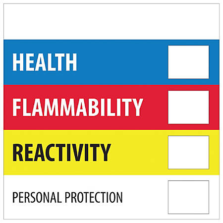 """Tape Logic® Preprinted Shipping Labels, DL1285, Health Flammability Reactivity, Square, 2"""" x 2"""", Multicolor, Roll Of 500"""