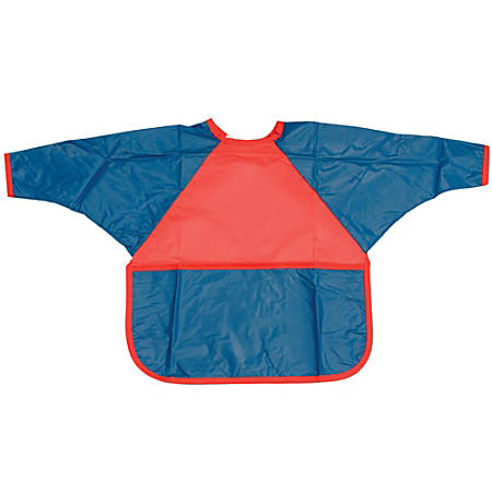 Children's Factory Washable Smocks, Small, Red/Blue, Pack Of 3