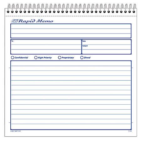 """Adams® Rapid Memo Book, 8 1/2"""" x 8 1/4"""", 25 Sheets"""