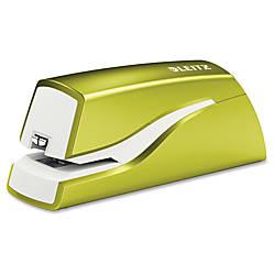 Leitz NeXXt Series WOW Electric Stapler - 10 Sheets Capacity - 4 x AA Batteries - Lightweight Portable - Green Item# 223659 | Tuggl