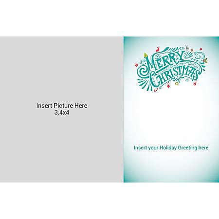 Flat Photo Greeting Card, Multi Merry Christmas, Horizontal