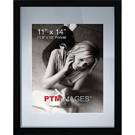 "PTM Images Photo Frame, Double Glass, 11""H x 14""W, Black"