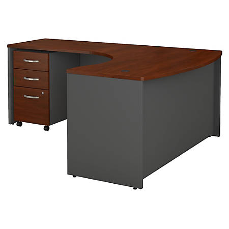 """Bush Business Furniture Components 60""""W x 43""""D Bow Front L Shaped Desk With 36""""W Return And 3 Drawer Mobile File Cabinet, Left Handed, Hansen Cherry, Standard Delivery"""