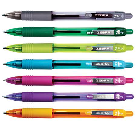 Zebra® Z-Grip™ Retractable Ballpoint Pens, Medium Point, 1.0 mm, Translucent Barrels, Assorted Ink Colors, Pack Of 7