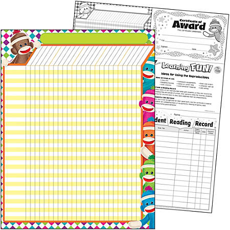 """Trend Sock Monkeys Collection Large Incentive Chart - 17"""" x 22"""" Sheet Size - 1 Each"""