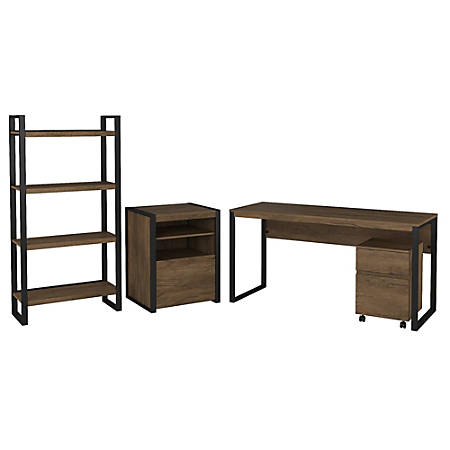 """Bush Furniture Latitude 60""""W Writing Desk with File Cabinets and Bookcase, Rustic Brown Embossed, Standard Delivery"""