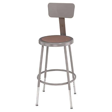 "National Public Seating Adjustable Hardboard Stools With Backs, 32 - 41 1/2""H, Gray, Set Of 5"