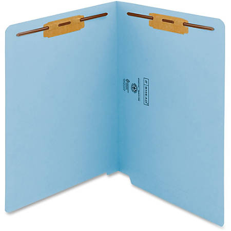 """Smead WaterShed®CutLess® End Tab Fastener Folders - Letter - 8 1/2"""" x 11"""" Sheet Size - 2 x 2B Fastener(s) - End Tab Location - 11 pt. Folder Thickness - Blue - Recycled - 50 / Box"""
