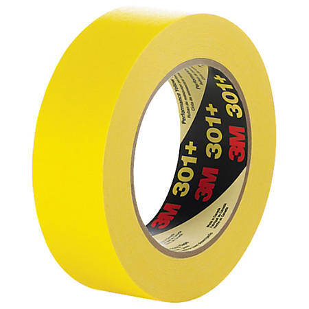 "3M™ 301+ Masking Tape, 3"" Core, 0.5"" x 180', Yellow, Case Of 12"