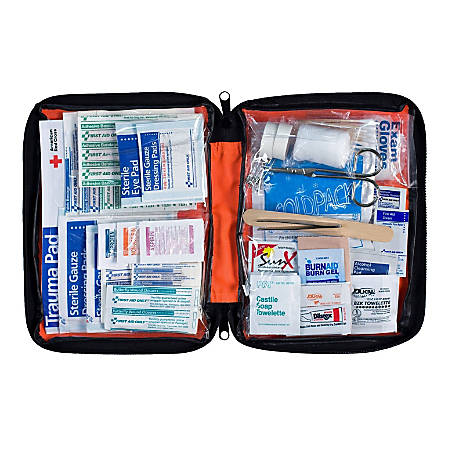 First Aid Only Outdoor Essentials Soft-Sided First Aid Kit, Red, 205 Pieces