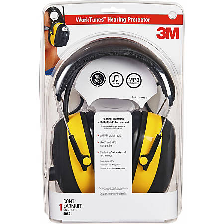 Tekk Protection Digital WorkTunes Earmuff - Stereo - Yellow, Black - Wired - Over-the-head - Binaural - Circumaural