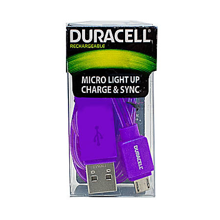 Duracell® Light Up Micro USB Cable, 3', Purple, LE2246