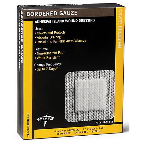 "Medline Sterile Border Gauze Pads, 4"" x 4"", White, 15 Pads Per Box, Case Of 10 Boxes"