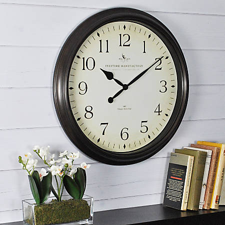 """FirsTime® Avery Round Wall Clock, 20"""", Black/Oil-Rubbed Bronze"""