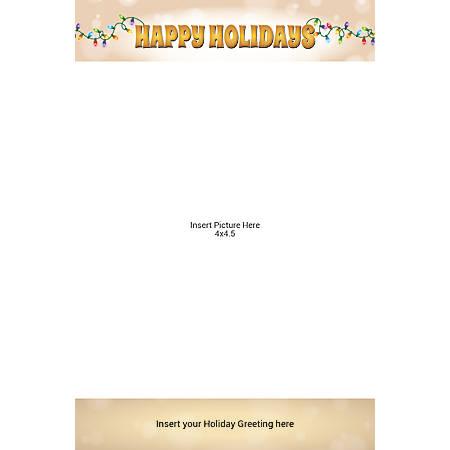 Flat Photo Greeting Card, Happy Holiday Bulbs, Vertical