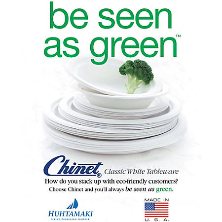 """Chinet® 100% Recycled Heavy-Duty Paper Plates, 6 3/4"""", Pack Of 125"""