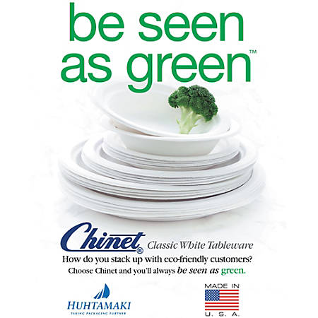 """Chinet Heavy-Duty Paper Plates, 8-3/4"""", 100% Recycled, Pack Of 125 Plates"""