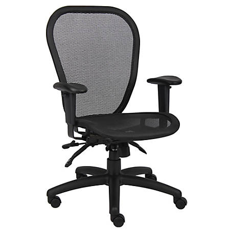 Boss Multifunction Mesh Mid-Back Task Chair, Black/Black