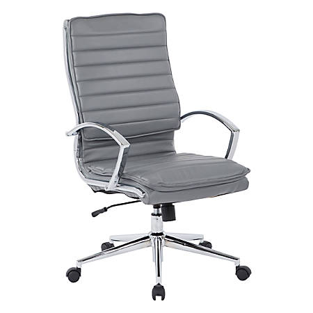 Office Star™ Pro-Line II™ SPX Series Bonded Leather High-Back Chair, Charcoal/Chrome