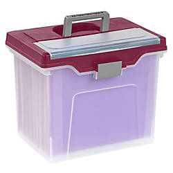 """Office Depot® Brand Mobile File Box, Large, Letter Size, 11 5/8""""H x 13 3/6""""W x 10""""D, Clear/Burgundy Item# 225736 at Office Depot in Cypress, TX 