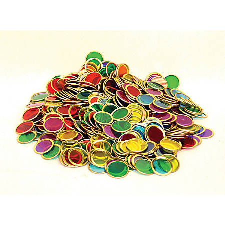 """Dowling Magnets Magnetic Counting Chips, 1 1/2""""H x 8""""W x 6 1/2""""D, Assorted Colors, Pre-K - Grade 4, Pack Of 500"""