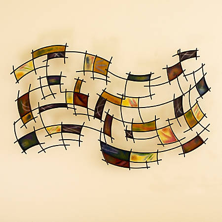 """Southern Enterprises Abstract Metal Wall Art, 27 1/4""""H x 42""""W x 2 3/4""""D, Multicolor"""